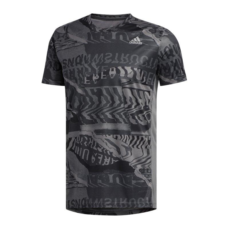 adidas Own The Run T-Shirt Running Grau Schwarz - grau