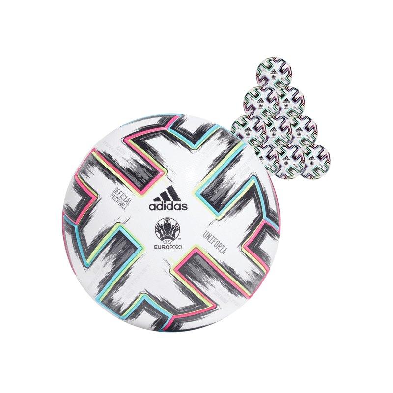 adidas PRO Uniforia EM 2020 Fussball 10x Gr.5 Weiss - weiss