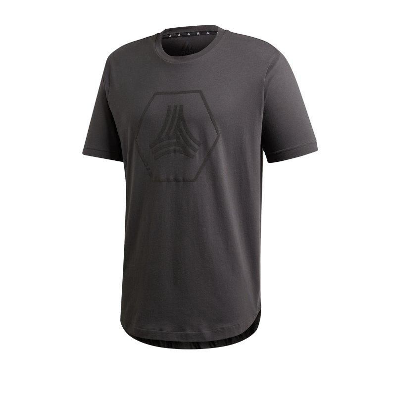 adidas Tango Logo Tee T-Shirt Grau Schwarz - grau