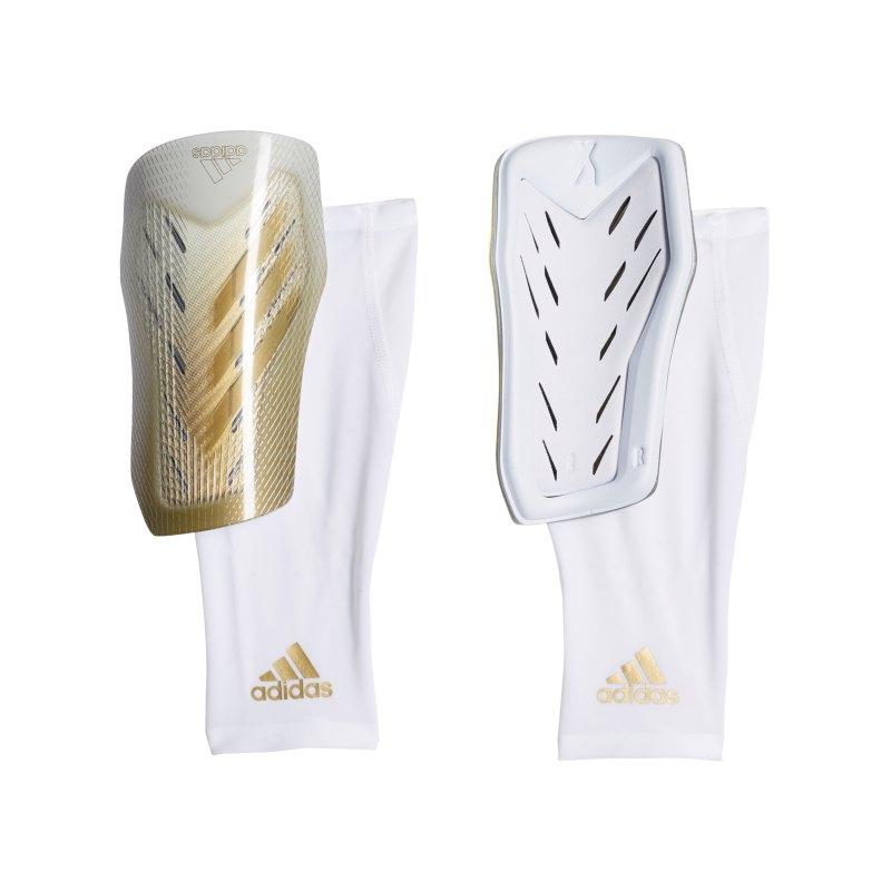 adidas X Pro Schienbeinschoner Weiss Gold Silber - weiss