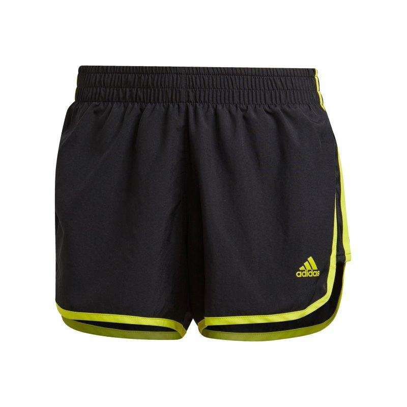 adidas M20 Short Running Damen Schwarz Gelb - schwarz