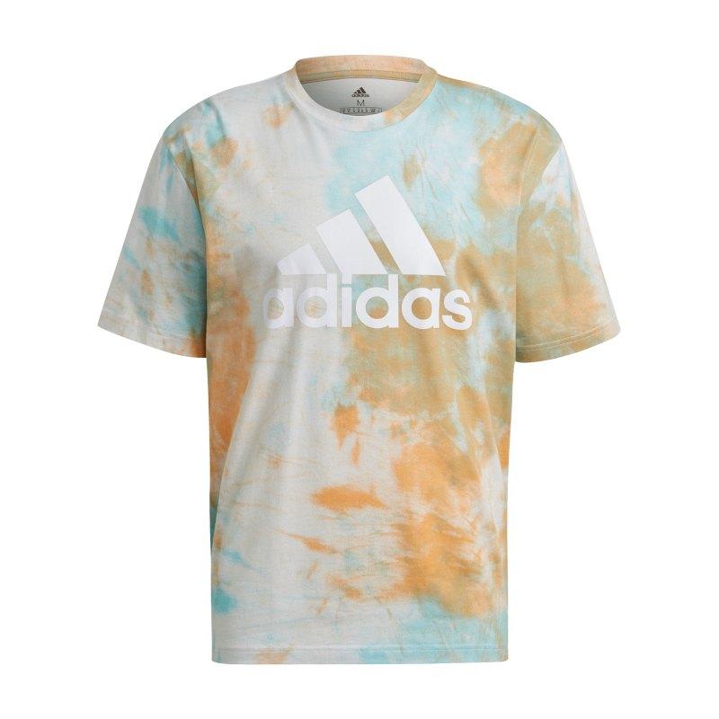 adidas Essentials Tie-Dyed T-Shirt Orange Hellblau - rosa