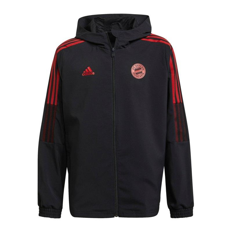 adidas FC Bayern München Prematch Jacke 2021/2022 Kids Schwarz - schwarz