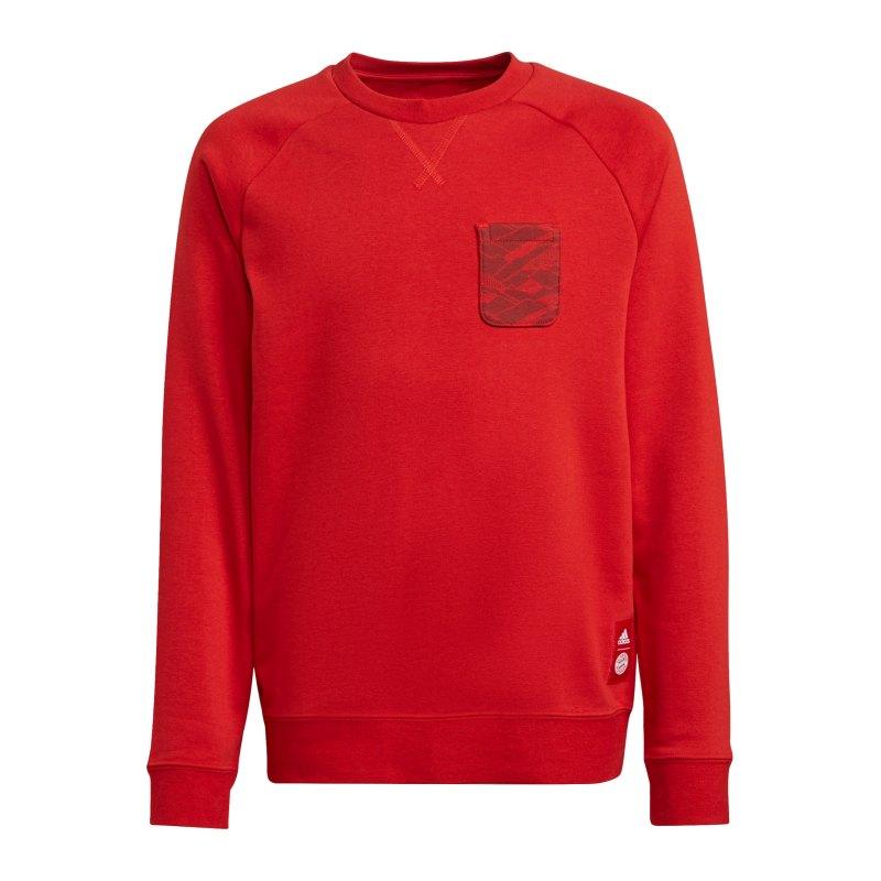 adidas FC Bayern München Crew Sweatshirt Kids Rot - rot
