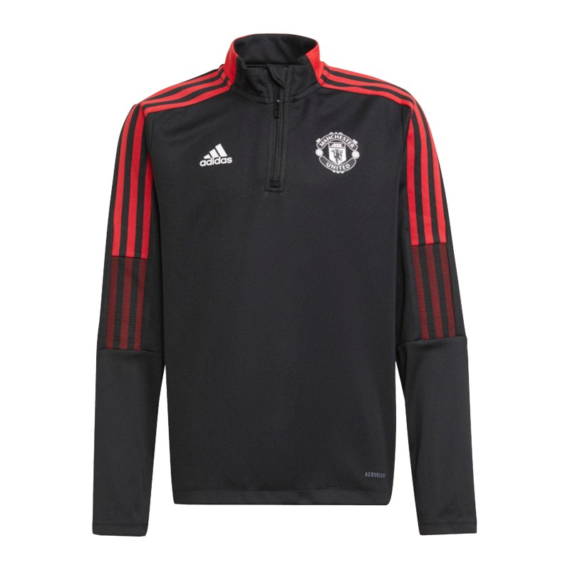 adidas Manchester United HalfZip Sweatshirt Kids Kids Schwarz - schwarz