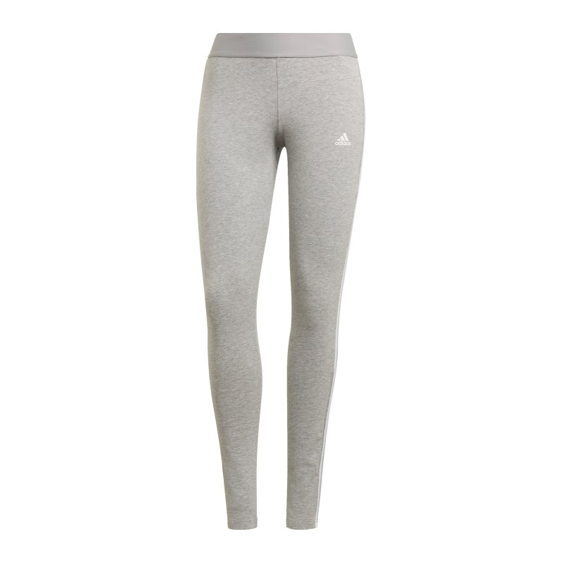 adidas 3 Stripes Leggings Damen Grau Weiss - grau