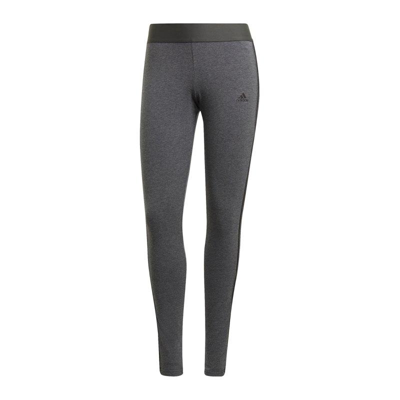 adidas 3 Stripes Leggings Damen Grau Schwarz - grau