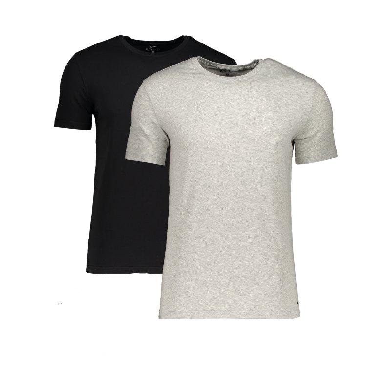 Nike Crew Neck Shirt 2er Pack Grau Schwarz F9JN - grau