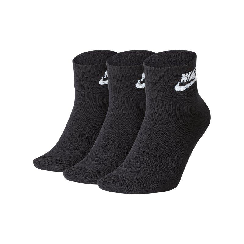 Nike Every Essential Socken 3er Pack Schwarz F010 - schwarz