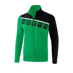 erima-5-c-praesentationsjacke-kids-gruen-schwarz-fussball-teamsport-textil-jacken-1011905.png