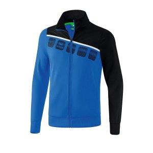 erima-5-c-polyesterjacke-kids-blau-schwarz-fussball-teamsport-textil-jacken-1021901.png