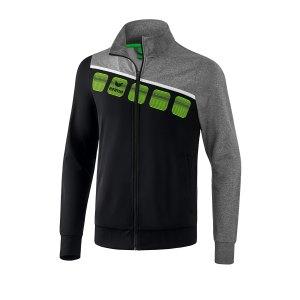 erima-5-c-polyesterjacke-kids-schwarz-grau-fussball-teamsport-textil-jacken-1021903.png