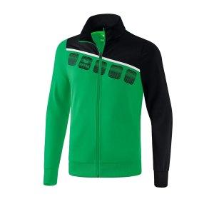 erima-5-c-polyesterjacke-kids-gruen-schwarz-fussball-teamsport-textil-jacken-1021904.png