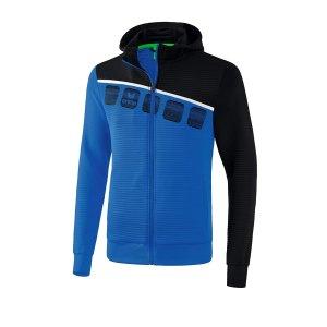 erima-5-c-trainingsjacke-kapuze-kids-blau-schwarz-fussball-teamsport-textil-jacken-1031901.png