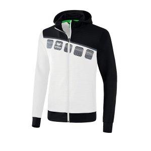 erima-5-c-trainingsjacke-mit-kapuze-weiss-schwarz-fussball-teamsport-textil-jacken-1031903.png