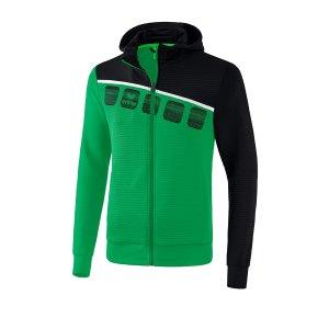 erima-5-c-trainingsjacke-mit-kapuze-gruen-schwarz-fussball-teamsport-textil-jacken-1031905.png