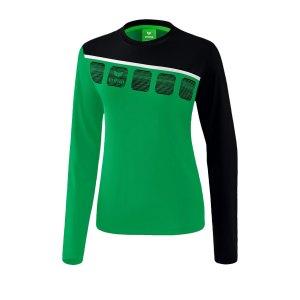 erima-5-c-longsleeve-damen-gruen-schwarz-fussball-teamsport-textil-sweatshirts-1331914.png