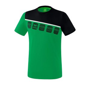 erima-5-c-t-shirt-gruen-schwarz-fussball-teamsport-textil-t-shirts-1081905.png